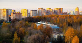 Panoramic view of urban residential district — Stock Photo