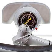 Valve and manometer of manual air pump close up — Stock Photo