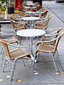 Empty street restaurant in autumn — Stock Photo