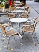 Empty street restaurant in autumn — Stock Photo