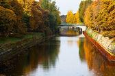 Bridge and fall of leavesl on Landwehrkanal — Photo