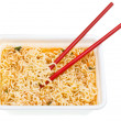Eating of cooked instant noodles — Stock Photo