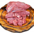 Scut raw beef meat on wooden board — Stock Photo