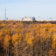 Panorama with TV tower, houses and autumn trees — Stock Photo