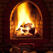 Fire in home fireplace — Foto Stock