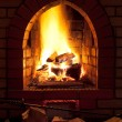 Fire in home fireplace — Foto de Stock