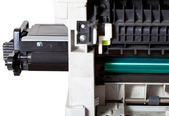 Maintenance printer with inserting toner cartridge — Stock Photo