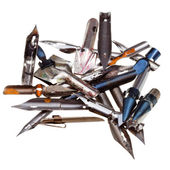Heap of used metal drawing pens — Stock Photo