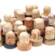 Many used corks from alcoholic spirits — Stock Photo