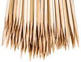 Sharp tops of wooden skewers — Stock Photo