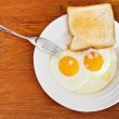 Breakfast with two fried eggs in white plate — Stock Photo #35889811