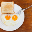 Breakfast with two fried eggs in white plate — Stock Photo #35889813