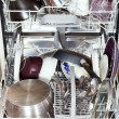 Dirty cookware in open dishwasher — Stock Photo #35889971
