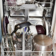 Dirty cookware in home dishwasher — Photo