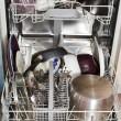 Dirty cookware in home dishwasher — Stok fotoğraf