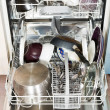 Stock Photo: Dirty cookware in built-in dishwasher
