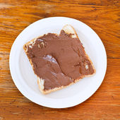 Sweet sandwich - toast with chocolate spread — ストック写真