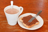 Sweet sandwich - toast with chocolate spread — Stock Photo