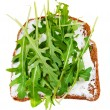Sandwich from bread, spread and fresh arugula — Stock Photo