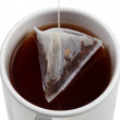 Brewing of tea in mug close up top view — Stock Photo