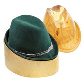 Tyrolean felt hat on linden wooden block — Stock Photo