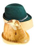 Bavarian felt hat on linden wooden block — Stock Photo