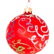 Children drawing- red decorative Xmas ball — Stock Photo