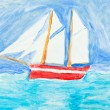 Children painting - sailing vessel in blue ocean — Stock Photo
