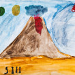 Children drawing - people near active volcano — Stock Photo