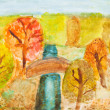 Children drawing - river in autumn forest — Stock Photo