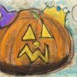 Children drawing - halloween pumpkin — Stock Photo