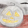 Children drawing - pumpkin and black bat — Lizenzfreies Foto