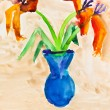 Children drawing - vase with two lily flowers — Stock Photo