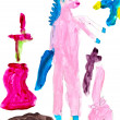 Children drawing - pink unicorn — Stock Photo