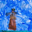 Children drawing - woman in blue night — Stock Photo