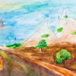 Children drawing - country road in mountains — Foto de Stock