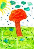Children drawing - orange tree under rain — Stock Photo