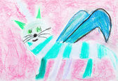 Children drawing - striped cat with wing — Stock Photo