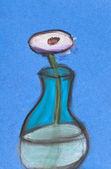Children drawing - white flower in glass vase — Stock Photo