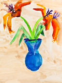 детей рисование - ваза с двумя цветами лилии — Стоковое фото