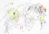 Children drawing - chaos in family — Stock Photo