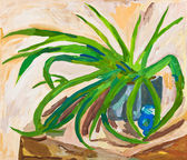 Children drawing - green leaves of indoor plant — Foto Stock