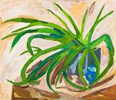 Детей Рисунок - зеленые листья комнатное растение — Стоковое фото