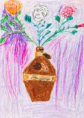 Children drawing - three rose in jug — Stock Photo