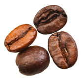 Four roasted coffee beans — Stock Photo