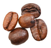 Five roasted coffee beans — Stock Photo