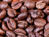 Dark roasted coffee beans close up — Stock Photo