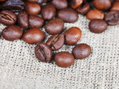 Roasted coffee beans on sackcloth — Stock Photo