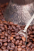 Spoon scoops roasted coffee beans — Foto Stock