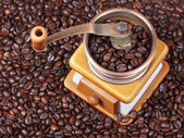 Top view of retro manual coffee grinder — Stock Photo